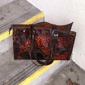 Vintage clear tortoise zip tote bag
